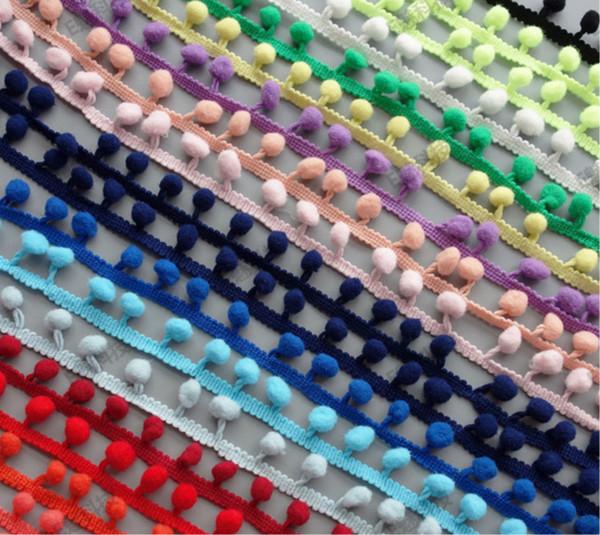 "20yards 22mm( 7/8"") Pom Pom Trim Lace Handmade Craft Fringe For Making Dolls Sewing Cloth pompom trim ball fringe"