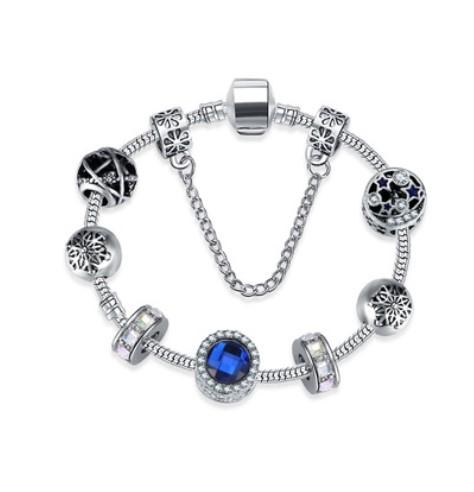 2017 New 925 Sterling Silver Blue Crystal Charm Beads Gemstone Snowflake Stars Moon Fit Women Pandora Bracelet & Necklace DIY Jewelry