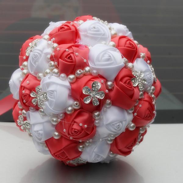 Acheter Mariage Rouge Et Blanc Bouquet De Mariee Fournitures De Mariage Perles De Fleurs Artificielles Strass Doux 15 Bouquets De Quinceanera W224 V