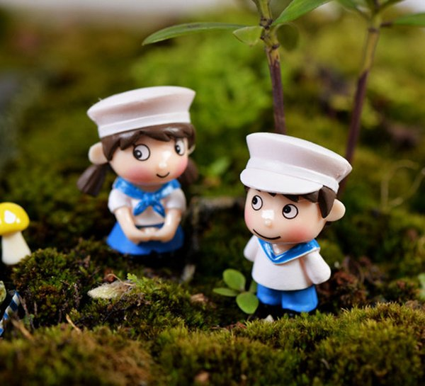 4pcs Navy couple fairy garden miniatures for terrariums resin figurine ornament miniaturas para mini jardins Potted decor