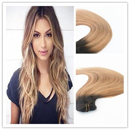 Clip de pelo humano en la extensión del pelo mezclado color # 2 # 6 # 27 Mejor estilo de la moda Seling brasileño pelo de la Virgen recto 100g por paquete