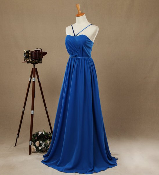 Blue Halter Thin Straps Bridesmaid Dresses Floor Length Formal Dresses Evening Dresses Chiffon with Pleats Prom Dress Real Pictures