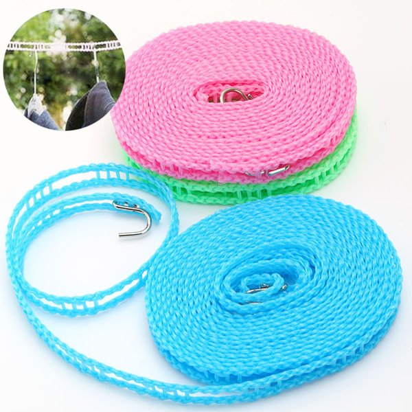 Adjustable Windproof Nylon Outdoor Anti Slip Slide Drying Clothes Hanger Clothesline Rope Line Cord String Camping Supplies