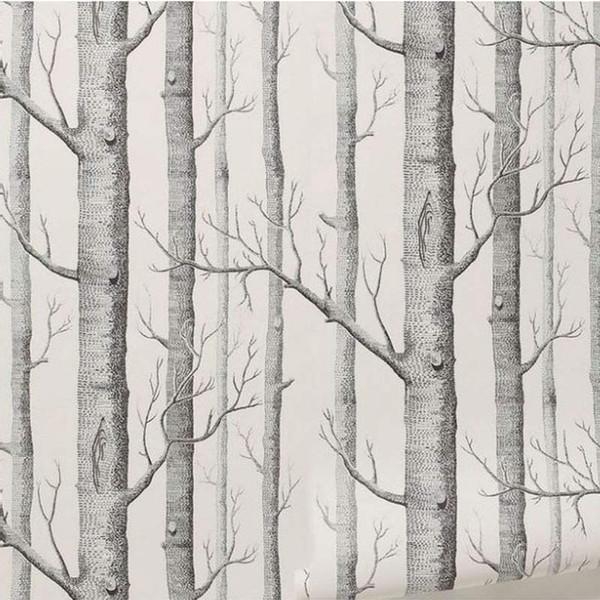 Großhandels-Birken-Baum-Muster-Vlies-Holz-Tapeten-Rollen-moderner Designer Wallcovering einfache Schwarzweiss-Tapete für Wohnzimmer