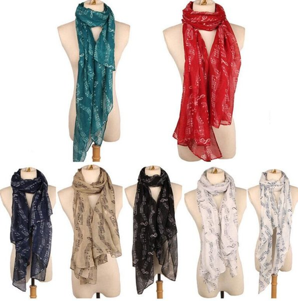 women scarf musical notation printed scarves soft scarf shawl lady Long Scarf Wrap Shawl Stole Muffler Scarves LJJK743