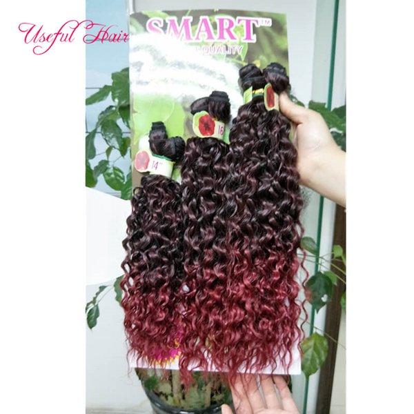 Kinky bouclé ombre marron coudre dans les extensions de cheveux 6pcs / lot synthétique trame cheveux ombre marron, violet synthétique tressage crochet extensions de cheveux