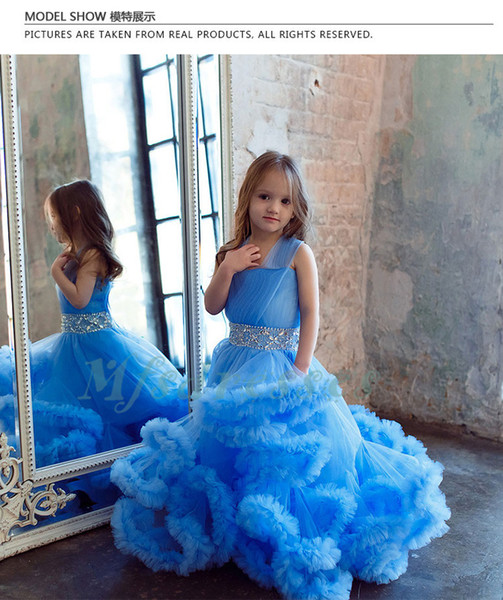 Cloud Little Flower Girls Dresses for Weddings Baby Party Frocks Real Image Luxury Girls Pageant Dress Kids Prom Dresses Evening Gowns 2017