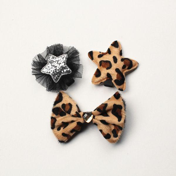 24pcs Cartoon Leopard Printed Hair Bow Girls Love Pearl Bows Hairpin Silver Star Floral Black Netting Hair Barrette Printed