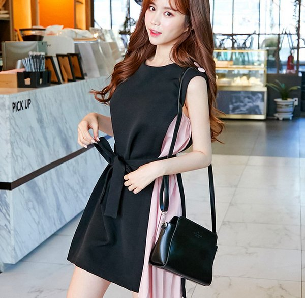 Europe and the United States wind summer fake two fashion temperament round neck sleeveless splice dress