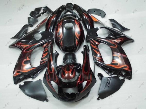 Body Kits YZF 600R 06 07 Vollkörper Kits Thundercat 96 97 Schwarz Rot Flammverkleidung Kits für YAMAHA YZF600R 98 99 1997 - 2007