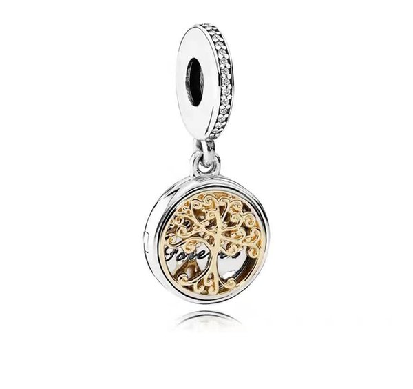 925 Sterling Silver Charm Bead with Box Gold Family Roots Tree Of Life Charms locket Pendant Necklace&Bracelets Jewelry Making