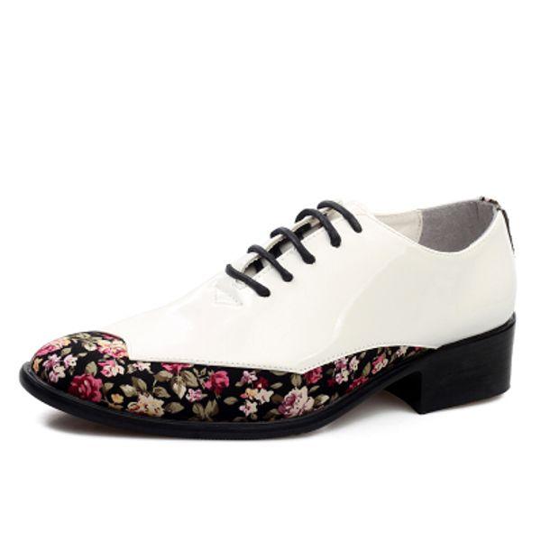 NEW popular Men's wedding shoes Mens Patent leather shiny Color matching shoes Unique men casual shoes 51682