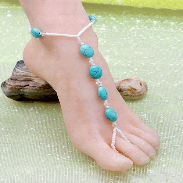 Turquoise Anklet Women's Feet Jewelry Turquoise Thai Silver Anklet Cheap Anklets Bracelet Foot Silver Wedding Barefoot Sandals