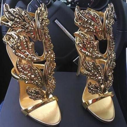 2017 winge schmetterling blatt frau sandalen strass stiletto heels summer gladiators echtes leder strappy gold hochzeit kleid schuhe