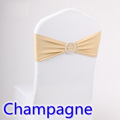 Champagne colour wedding chair sash spandex band with diamond buckle for chair covers lycra bow tie spandex sash ribbon on sale