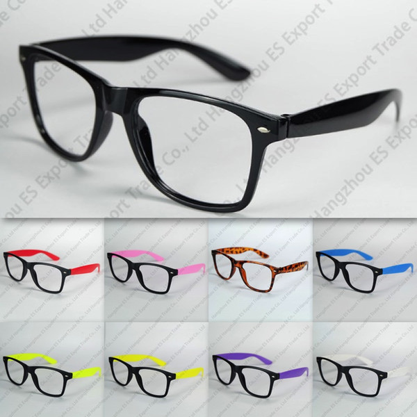 best selling Nerd Eyeglasses Frame No Lenses Plastic Eyeglasses Black Frame Colorful Temples With Factory Price Mix Colors