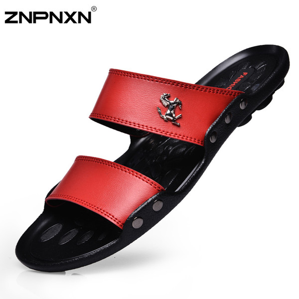 Оптовая продажа-Новый 2015 мужчины сандалии мода повседневная квартира мягкие летние шлепанцы ПУ массаж пляж тапочки обувь для мужчин Zapatos размер 39-44