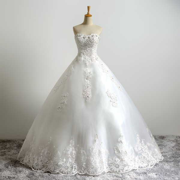 Sweetheart Strapless A-line Crystal Lace Applique Vestidos De Noiva Fancy Beaded Top Lace Bridal Ball Gowns Wedding Dress (Ivory as Picture)