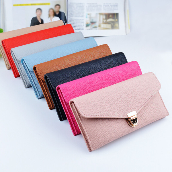 2017 New Solid Color Long Two Fold Wallet Ladies Handbag Fashion Lock Pattern Multi-card Position Female Long Zipper Purse