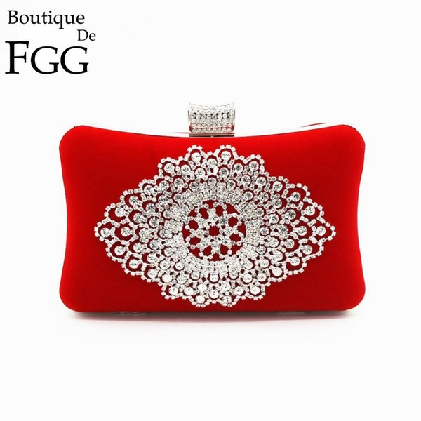 Elegant Women Brand Silver Metal Flower Appliques Clear Crystal Evening Clutches Bag Wedding Bridal Red Clutch Handbag Purse