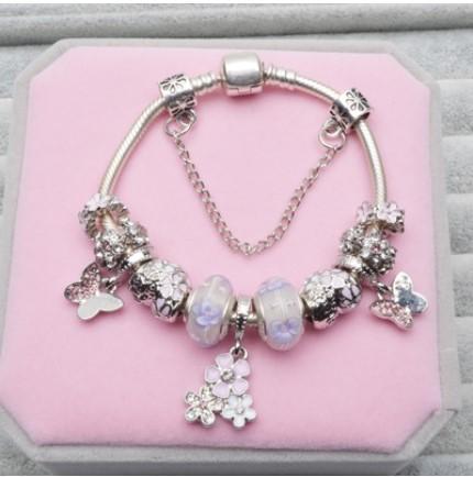 925 Sterling Silver Purple Flower Murano GlassBeads Charm Poetic Blooms Butterfly Pendant Bead Fit Women Pandora Bracelet Bangle Diy Jewelry