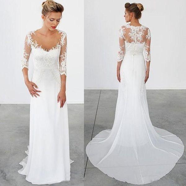 Discount High Quality Simple Beach Wedding Dresses 3/4 Long Sleeves ...