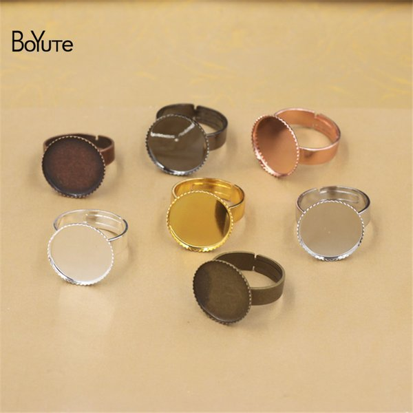 BoYuTe 20Pcs 7 Colors Round 12/14/16/18/20/25/30MM Cabochon Ring Settings without Stones Diy Jewelry Findings Components