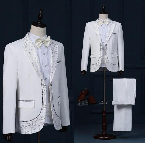 Singer star style dance stage clothing for men suit set with pants 2017 mens wedding suits costume groom formal dress tie white fashion
