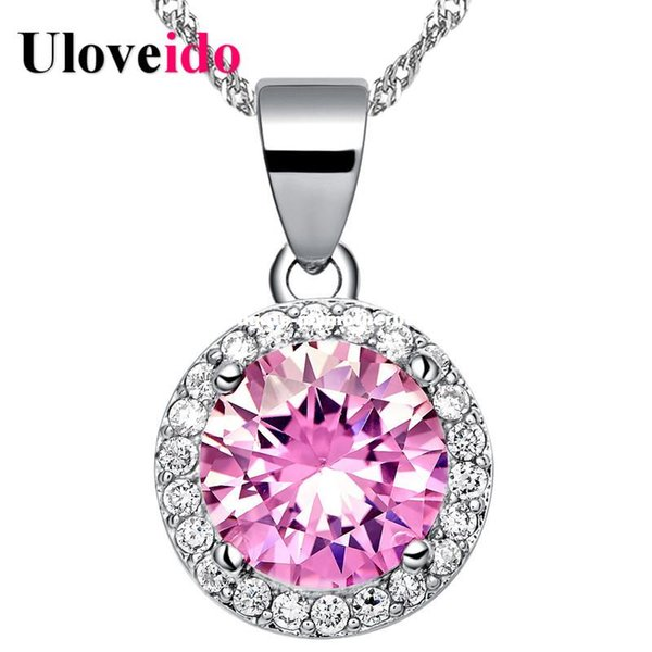 dhgate Round Pink Choker Necklaces & Pendants Colar Chain Cubic Zirconia Collier Jewelry Neckalce Female 2017 Suspension N1113