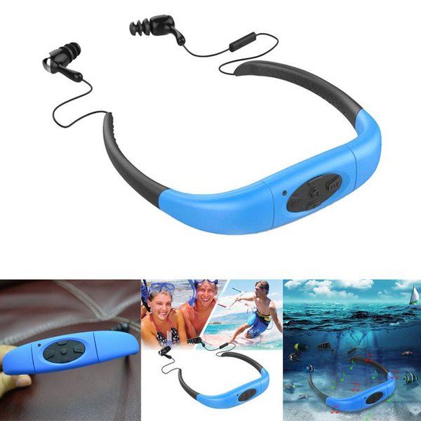 Askmeer Waterproof 8GB Underwater Sport MP3 Music Player Neckband Stereo Earphone Audio Headset with FM for Diving Swimming