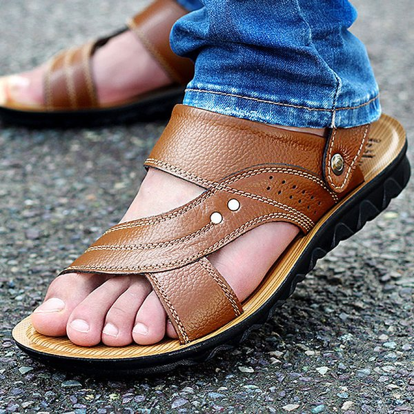 Wholesale-New Arrival 2016 Summer Male Sandals Men Genuine Leather Shoes Open Toe Sandals Slippers Fashion Casual Cowhide Beach Shoes
