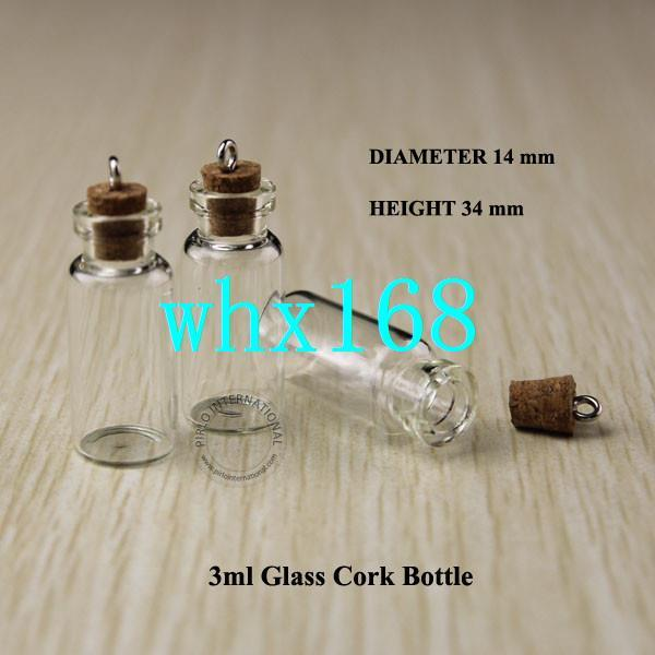 20pcs 3ml Wood Cork Glass Vial Mini Clear Decorative Bottle Small Wishing Bottle Vintage Glassware With Metal Ring