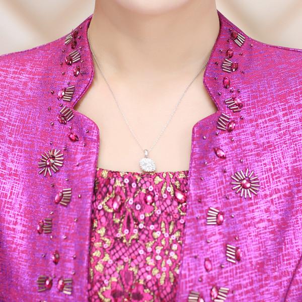 Compre Lace Jacket Longitud De La Rodilla Madre De La Novia Vestido ...