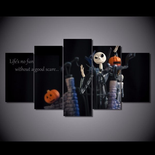 5 Pcs/Set Framed HD Printed Halloween Nightmare Before Christmas Picture Wall Art Canvas Room Decor Poster Canvas Oil Painting