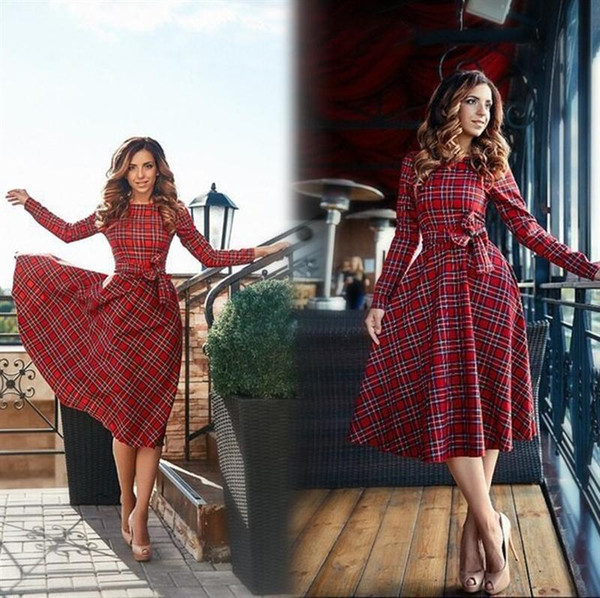 best selling Wholesale- 2020 New Autumn Red Plaid Long Sleeve Mini Dress Women O-neck Bow Casual Dresses Vestidos