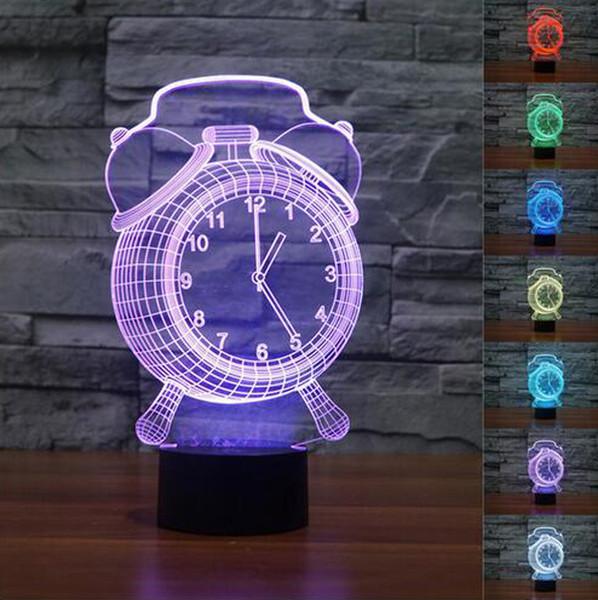 3D Alarm Clock Night Light 7 Color Change night light Mood Bedroom Livingroom Cafe Bar Light Lamp Child DHL free