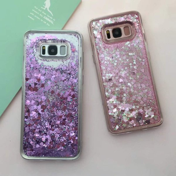 Bling Love Shape Quicksand Case for Samsung Galaxy S8/S8 Plus Liquid Shinny Diamond TPU Soft Back Cover for S8