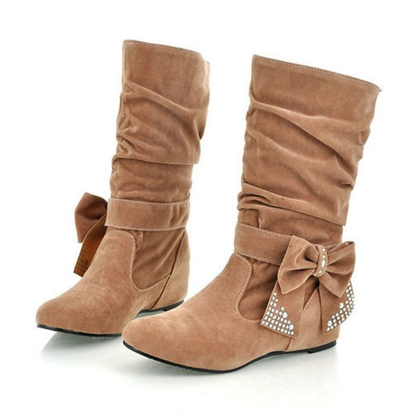 New lovely Style BIG Biwte Rhinestone Mid Calf Faux suede autumn winter Big size US 4-15 boots Flat women's shoes MLE-608-1