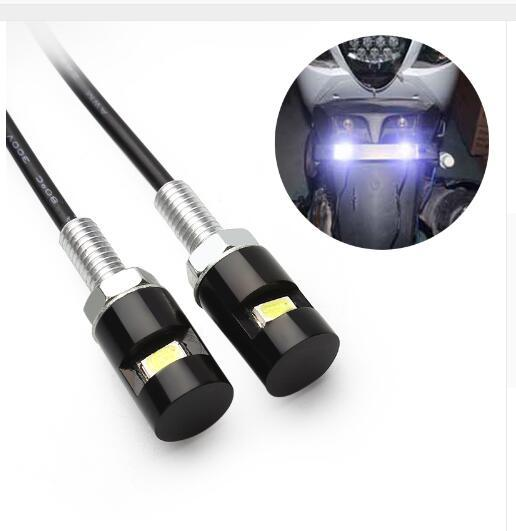 wholesale Motorcycle LED License Plate Lights 12V SMD 5630 Car Auto Front Tail Number Lamps Bulbs Styling Screw Bolt White