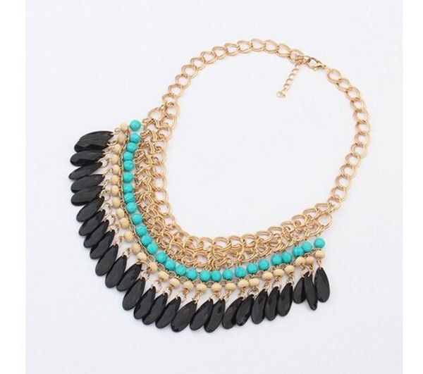 Bohemian Maxi Necklace Women Multi layers Gem Acrylic Water Droplets Tassel Choker Bijoux Collar Statement Gold Chunky Chain Necklace