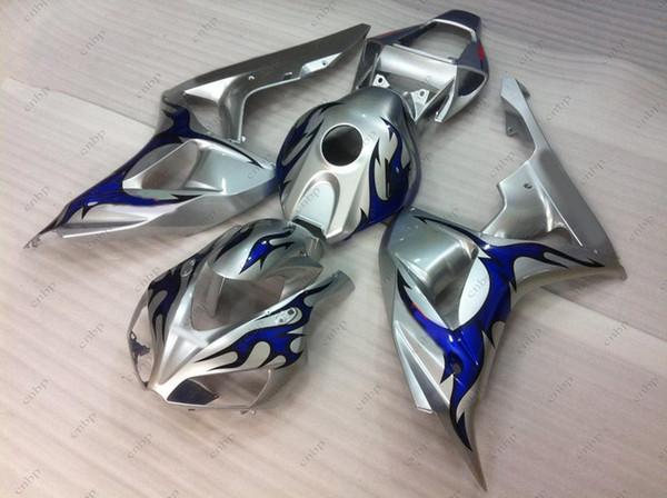Plastic Fairings CBR 1000 RR 2006 Body Kits CBR1000 RR 06 Silvery Blue Flame ABS Fairing Fireblade 07 2006 - 2007