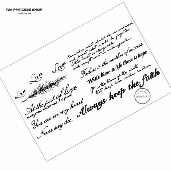 Großhandels- Retro- Brief temporäre Tätowierung-Körper-Kunst-Tätowierung-Aufkleber 21 * 15cm wasserdichte gefälschte Tätowierung Henna schmerzlose Tätowierung-Aufkleber