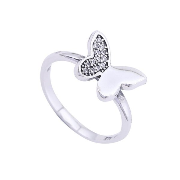2017 Summer New Butterfly Rings 925 Sterling Silver Pave Clear Crystal Butterfly Rings For Women Brand Wedding Fine Jewelry BF379