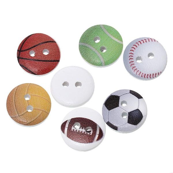 Venta al por mayor Botones de acceso Botones de ropa de marca Botón de madera del bebé 15 mm Botón de 200pcs botones de madera