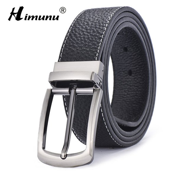Wholesale- [HIMUNU] Brand Sided Use pelle bovina Cinture in vera pelle per gli uomini Fashion Designer Cinture uomo di alta qualità fibbia ad ardiglione Jeans cintos