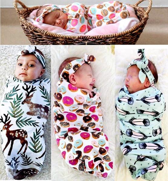 top popular INS New Infant Baby Swaddle Baby Boys Girls Muslin Blanket & Headband Newborn Baby Soft Cotton Cocoon Sleep Sack Two Piece Set Sleeping Bags 2021