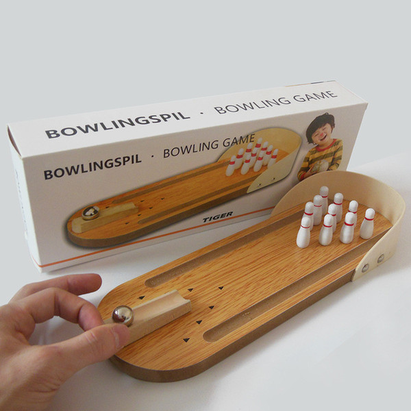 Mini bowling desktop game wooden children puzzle innovative toys solid wood paternity fun ball Creative toys