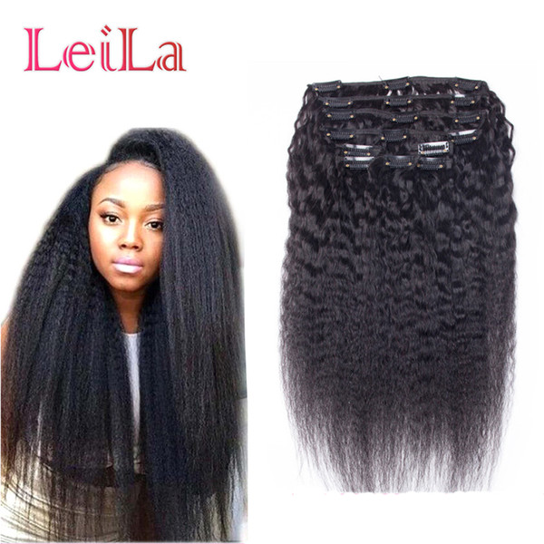 top popular Malaysian Human Hair 7Pieces SET Kinky Straight Clip In Hair Weft Extensions Natural Black Coarse Yaki Human Hair Weaves 2019