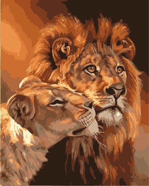 Compre Frameless The Lion Animal Diy Pintura Por Números Kits Para Colorear Pintura Al óleo Sobre Lienzo Dibujo Home Artwork Wall Art Picture A 2523