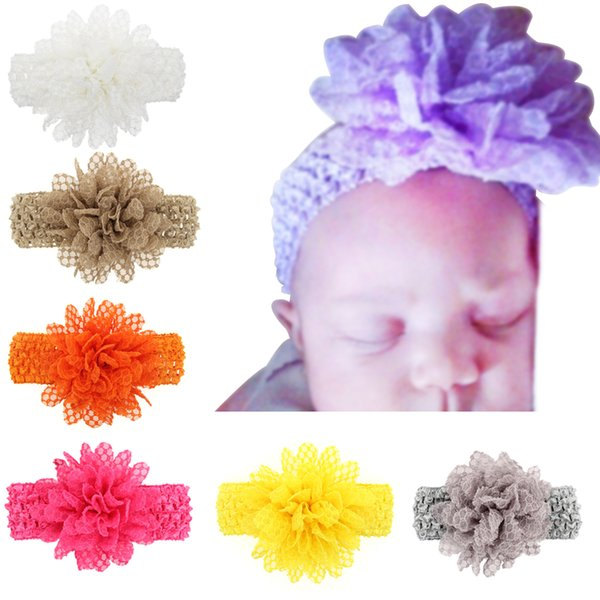 13 Colors Baby Headbands Big Flowers Kids Lace Hair Accessories Headband with Wide Elastic crochet band Girls stretchy hair bands KHA558
